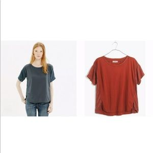 Madewell Shirttail Knit & Satin tee